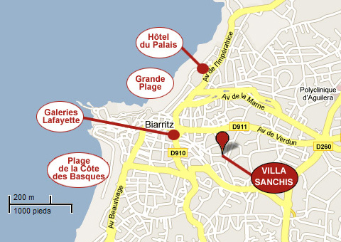plan villa Sanchis à Biarritz